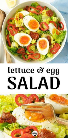 Lettuce Salad Recipes, Meat Salad, Healthy Salad Recipes, Healthy Foods To Eat, Vegetarian Recipes, Healthy Eating, Easy Recipes, Easy Healthy Breakfast, 4 Ingredients