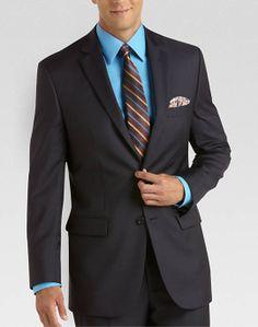 Pronto Uomo Signature Navy Multistripe Modern Fit Suit - Modern Fit   Men's Wearhouse