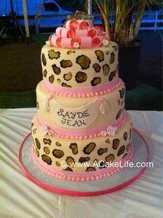 Leopard theme print 1st birthday cake