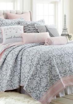 Levtex Home Margaux Full/Queen Quilt Set Bedding Cute Bedding, Teen Bedding, Bedding Sets, Teen Girl Bedrooms, Teen Bedroom, Bedroom Wardrobe, Master Bedroom, Gray Bedroom, Bedroom Decor