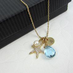 Birthstone monograma Star collar joyería inicial por AdrianaSparks, $45.00
