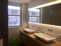 badkamer meubel van massief hout Luca sanitair met de Bongio T-Mix inbouw kranen, wastafels opbouw van Thebalux