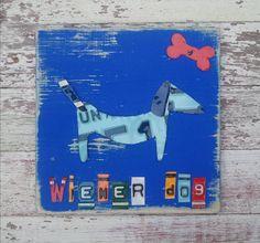 License Plate Artwork Wiener Weiner Dog Puppy Animal Red Bone Orange Blue Personalized Name Boy Car Custom Nursery Art Recycled States Arte Dachshund, Red Bone, Dog Crafts, Dogs And Puppies, Recycling, License Plates, Snails, Dachshunds, Nursery Art