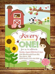 La granja primer invitación de fiesta de por PinkLemonadeTree