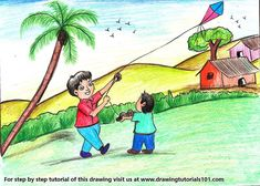 Easy Makar Sankranti Indian Festival Drawing For Kids Learn How To