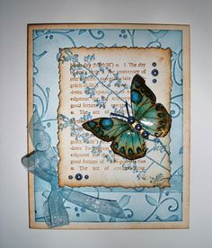 layered stamping - love the dictionary page - definition of birthday - very nice touch!