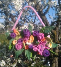 Bag#felted#wool#handmade# shemesh0077@gmail.com Felted Wool, Wool Felt, Floral Wreath, Wreaths, Bag, Plants, Handmade, Home Decor, Floral Crown