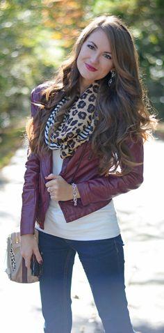 Chicwish Faux Leather Biker Jacket in Wine