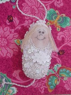 """Bride Dotee received - delicate little beaded bride, """"what a beauty! Fabric Dolls, Paper Dolls, Art Dolls, Felt Crafts, Fabric Crafts, Sewing Crafts, Spirited Art, Doll Wigs, Tiny Dolls"""
