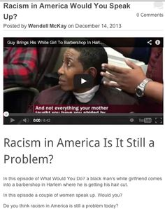 IS Racism in America still a problem? What do you think? I think racism in America as well as everywhere will be a problem until everyone who is against it speaks up. http://www.wendellmckay.com/blog/racism-in-america-would-you-speak-up