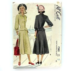 1940s Vintage Women's Junior Suit Pattern with by SelvedgeShop