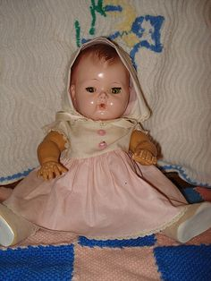 This is the Tiny Tears doll.  I have one almost identical to this one. I wanted a Tiny Tears all through my childhood and didn't get one until my 50's. Sweet face. LJH