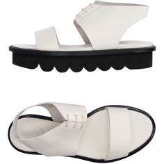 Agl Attilio Giusti Leombruni Sandals ($180) ❤ liked on Polyvore featuring shoes, sandals, ivory, real leather shoes, round cap, flatform sandals, ivory shoes and attilio giusti leombruni