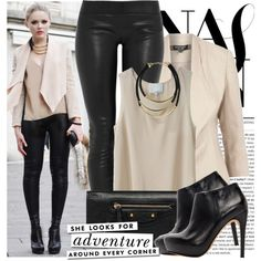 Rocker Chic. Black leather leggings, cream top and jacket.