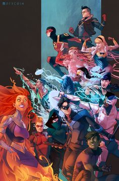 The Teen Titans by Jamal Campbell. Since it has Nightwing, it also counts. And Starfire ❤️ Marvel Dc Comics, Hq Marvel, Dc Comics Art, Nightwing, Deathstroke, Beast Boy Raven, Comic Books Art, Comic Art, Robin Starfire