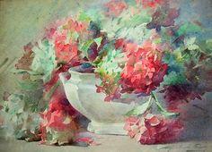 Les géraniums, Blanche Odin Watercolor Flowers, Watercolor Paintings, Watercolors, Floral Paintings, Flowers For You, Art Graphique, Belle Photo, Rose, Drawings