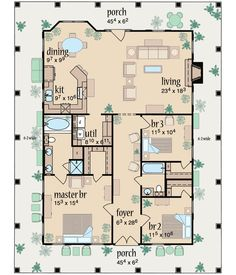 Country Style House Plans - 1567 Square Foot Home , 1 Story, 3 Bedroom and 2 Bath, Garage Stalls by Monster House Plans - Plan 18-213
