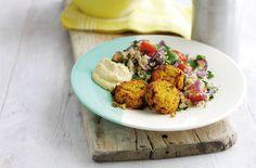 Sweet potato falafel with tomato couscous