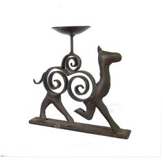 Candle holder vintage. Candlestick. Rustic candle holder. Metal candle... ($18) ❤ liked on Polyvore featuring home, home decor, candles & candleholders, metal candlesticks, wrought iron home decor, metal candle holders, iron figurines and iron candleholder