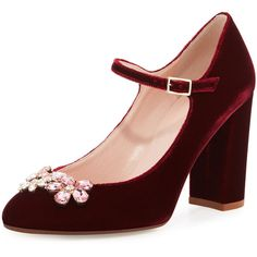 kate spade new york ballina crystal velvet mary jane pump ($380) ❤ liked on Polyvore featuring shoes, pumps, heels, kate spade, mary janes, bordeaux, strap pumps, block heel shoes, strappy pumps and mary jane shoes