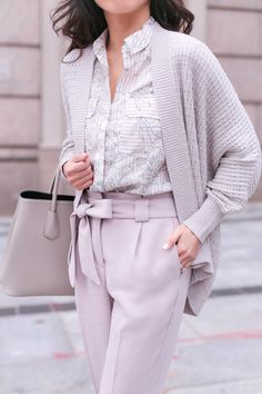 cozy cocoon cardigan + floral striped blouse + tie waist ankle pants // spring office wear