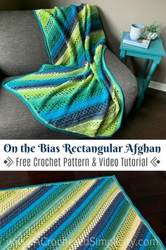 On the Bias Rectangular Afghan - Free Crochet Blanket Pattern - A Crocheted Simplicity - Crafts Baby Blanket Crochet, Crochet Baby, Crochet Blankets, Baby Afghans, Crocheted Afghans, Crochet Toys, Crochet Things, Knitted Dolls, Baby Blankets