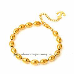 pulsera de moda bolista dorado 7*10mm en acero inoxidable- SSBTG463051 Gold Necklace, Bracelets, Jewelry, Silver Jewellery, Stainless Steel, Gold Pendant Necklace, Jewlery, Jewerly, Schmuck