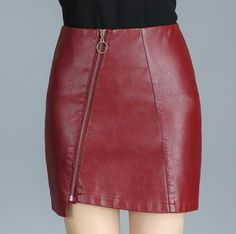 Black Red Leather Skirt Women Plus Size High Waist Courte Jupe Femme Hiver 2017 Short Mini Jupe Sexy Hot Gothic Red Leather Skirt, Leather And Lace, Office Skirt, Cute Skirts, Fashion Over 50, Fashion Outfits, Womens Fashion, What To Wear, High Waisted Skirt