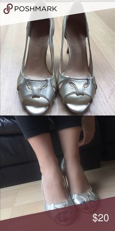 Silver kitten heels Cute silver kitten heels! Size 6 with a 1.5 inch heel. From Talbots and only worn once :) Talbots Shoes Heels
