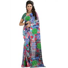 Nice-looking Multicolor Color Premium Gerogette Printed Saree at just Rs.499/- on www.vendorvilla.com. Cash on Delivery, Easy Returns, Lowest Price.