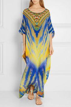 Camilla | Meltemi Breeze embellished printed silk-crepe kaftan | NET-A-PORTER.COM