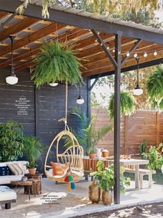 A dreamy patio under a pergola with beautiful plants and lighting. A dreamy patio under a pergola with beautiful plants and lighting. Love this hanging chair and the boho feel. Backyard Patio Designs, Pergola Patio, Pergola Designs, Backyard Landscaping, Patio Ideas, Wooden Pergola, Pergola Ideas, Rustic Pergola, White Pergola