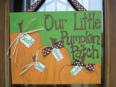 Fall--- This would be an easy craft. I'd frame pictures of the girls in a pumpkin patch next to this. Halloween Crafts, Holidays Halloween, Halloween Decorations, Fall Decorations, Halloween Ideas, Halloween Canvas, Happy Halloween, Halloween Party, Thanksgiving Crafts
