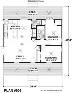 Two Bedroom Ranch House Plans Inspirational Cottage 2 Beds 1 5 Baths 954 Sq Ft Plan 56 547 Main Floor Cottage Style House Plans, Cottage Style Homes, Ranch House Plans, Guest Cottage Plans, 2 Bedroom House Plans, Two Bedroom Tiny House, Guest House Plans, Small House Living, Small Cottage Homes