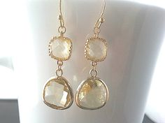 Summer Romance Lemon Gold Earrings by LaLaCrystal on Etsy, $26.00 x9