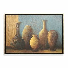 The brown-and-blue patterned vessels in this print look like they are reflecting the setting sun, as they stand against a blue wall. This image is on deco board with a black and gold-trim frame. Wedding Gift Registry, Wedding Gifts, Blue Walls, Home Decor Wall Art, Bedding Shop, Fine China, Bath Towels, Peacock, Modern