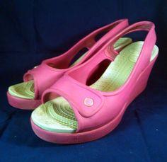 ~~~ CROCS Shoes ~ Hot Pink Wedge Style Sandals ~ Size 9 M ~~~ #Crocs #PlatformsWedges