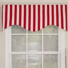 """RLF Home Awning Stripe Cornice 50"""" Curtain Valance Color: Red"""