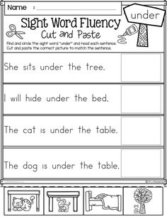 kindergarten and first graders. There are 80 pages with 208 sight word sight word sentences cut and paste in this product. This product helps children to learn sight words by reading and put them in the sentences. Preschool | Preschool Worksheets | Kindergarten | Kindergarten Worksheets | First Grade | First Grade Worksheets | Sight Word Fluency| Sight Word Fluency Cut and Paste Primer | Sight Word Worksheets