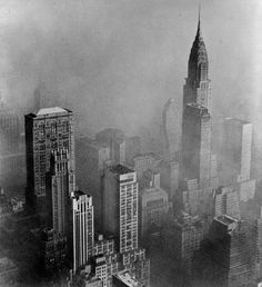 Chrysler Bldg. in smog, 1953.  http://nycpast.tumblr.com/post/44725798127