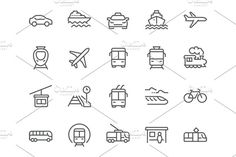 Line Public Transport Icons Graphics Simple Set of Public Transport Related Vector Line Icons. Contains such Icons as Taxi, Train, Tram by Davooda