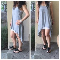 Grey high low tank dress High low heather grey tank dress ( modeled with lace trim long Cami that's sold separately) this great tank dress is also available in olive green and black Dresses High Low