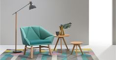 Facet Accent Chair, Mineral Blue and Emerald Green | made.com