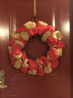 Burlap wreath for Valentine's Day.