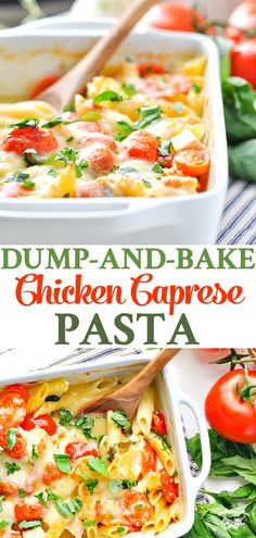 Dump-And-Bake Chicken Caprese Pasta Is An Easy And Healthy Dinner Recipe For Summer Chicken Breast Recipes Healthy Casserole Poulet Caprese, Caprese Pasta, Caprese Chicken, Baked Chicken, Chicken Pasta, Chicken Breast Recipes Healthy, Chicken Soup Recipes, Healthy Dinner Recipes, Pasta Recipes