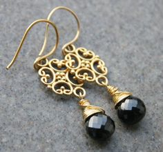 SALE-Gemstone Black Spinel Earrings, Wire Wrapped, Fashion Jewelry,Lovely Gift, Unique Gifts, Under 50, Gift for Her on Etsy, $48.95