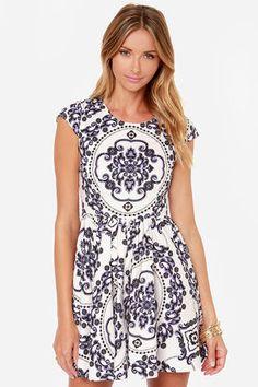 2e64138d424 Royal Luxe Ivory Print Dress