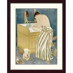 Global Gallery 'Woman Bathing' by Mary Cassatt Framed Painting Print Size: