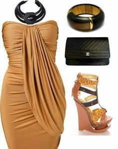 Rustic gold and black outfit
