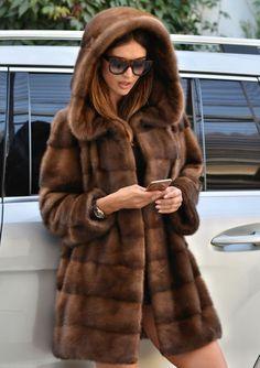mink furs - new milano sable color royal saga mink fur coat hood